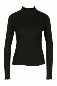 Womens Lettuce Hem Ribbed Long Sleeve Top - black - 6, Black