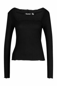 Womens Lettuce Hem Square Neck Long Sleeve Top - black - 10, Black