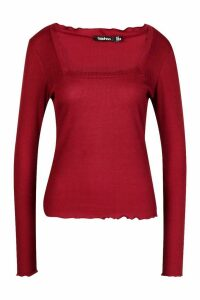 Womens Lettuce Hem Square Neck Long Sleeve Top - red - 16, Red