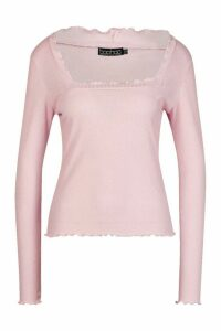 Womens Lettuce Hem Square Neck Long Sleeve Top - pink - 14, Pink