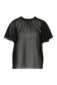 Womens Dobby Mesh Ruffle Neck Smock Top - black - 6, Black