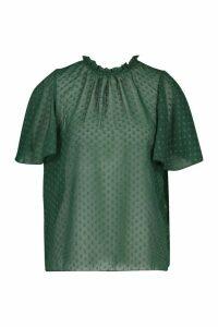 Womens Dobby Mesh Ruffle Neck Smock Top - Green - 6, Green