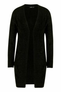 Womens Cable Knit Oversized Boyfriend Cardigan - black - M/L, Black