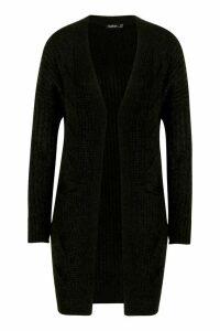 Womens Cable Knit Oversized Boyfriend Cardigan - black - M/L, Black
