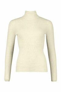 Womens Fine Knit Polo Neck Long Sleeve Top - beige - M, Beige