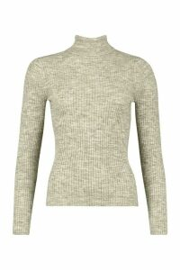 Womens Fine Knit Polo Neck Long Sleeve Top - silver grey - L, Silver Grey