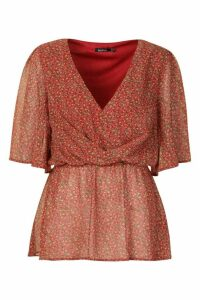 Womens Ditsy Floral Angel Sleeve Peplum Blouse - red - 6, Red