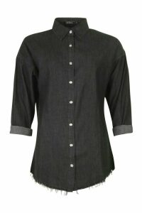 Womens Button Front Denim Shirt - black - M, Black