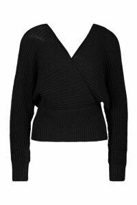Womens Rib Knit Wrap Knitted Jumper - black - M, Black
