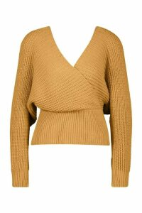 Womens Rib Knit Wrap Knitted Jumper - beige - L, Beige