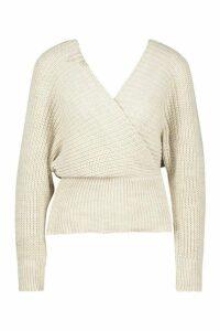 Womens Rib Knit Wrap Knitted Jumper - beige - L, Beige