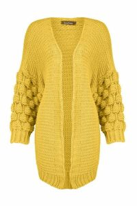 Womens Premium Bobble Knit Cardigan - yellow - L, Yellow