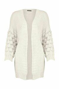Womens Premium Bobble Knit Cardigan - beige - L, Beige