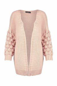 Womens Premium Bobble Knit Cardigan - Beige - S, Beige