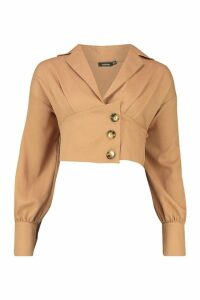 Womens Button Side Structured Top - beige - 12, Beige