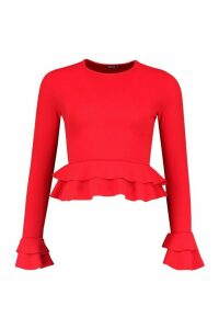 Womens Ruffle Crepe Long Sleeved Peplum Top - red - 10, Red