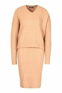 Womens Cable Knit Skirt Co-ord Set - beige - M, Beige