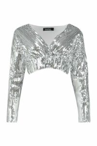 Womens Sequin Wrap Top - grey - 6, Grey