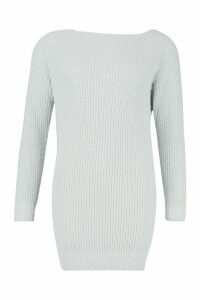 Womens Slash Neck Fisherman Jumper - Grey - S, Grey