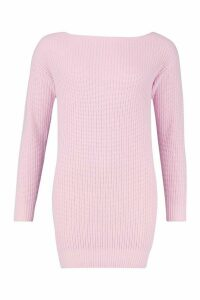 Womens Slash Neck Fisherman Jumper - pastel pink - M, Pastel Pink