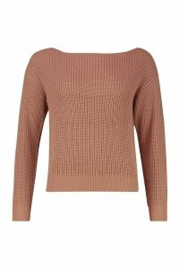 Womens Slash Neck Crop Fisherman Jumper - beige - S, Beige