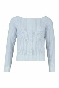 Womens Slash Neck Crop Fisherman Jumper - blue - M, Blue