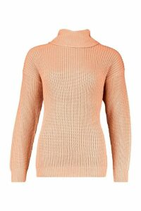 Womens Fisherman Roll Neck Jumper - orange - S, Orange