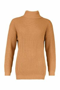 Womens Fisherman Roll Neck Jumper - beige - S, Beige