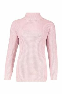 Womens Fisherman Roll Neck Jumper - pastel pink - M, Pastel Pink