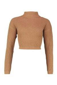 Womens Cropped Fisherman Roll Neck Jumper - Beige - M, Beige