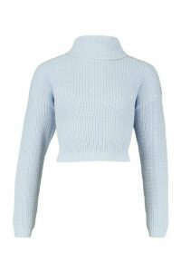 Womens Cropped Fisherman Roll Neck Jumper - blue - L, Blue
