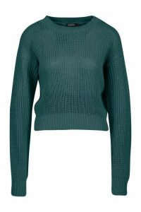 Womens Crop Fisherman Jumper - green - L, Green