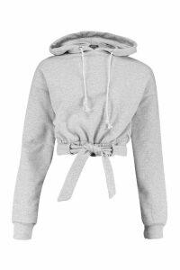 Womens Tie Waist Belted Hoody - Grey - S, Grey