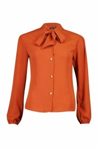Womens Pussybow Button Through Volume Sleeve Blouse - orange - 12, Orange