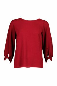Womens Bow Sleeve Woven Blouse - red - 10, Red