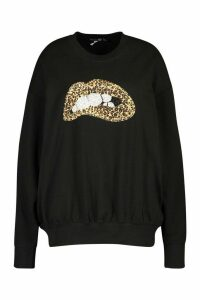 Womens Plus Sequin Lip Sweatshirt - black - 18, Black