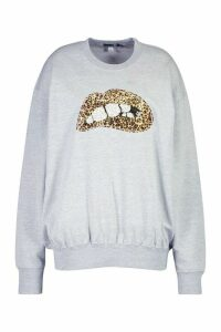 Womens Plus Sequin Lip Sweatshirt - grey - 18, Grey