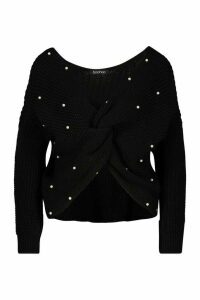 Womens Petite Pearl Detail Twist Front Jumper - black - M, Black