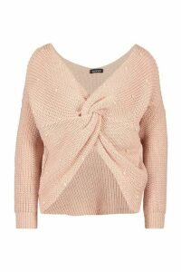 Womens Petite Pearl Detail Twist Front Jumper - pink - S, Pink