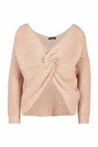 Womens Petite Pearl Detail Twist Front Jumper - pink - L, Pink