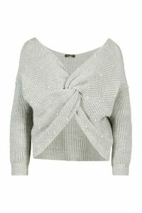 Womens Petite Pearl Detail Twist Front Jumper - grey - M, Grey