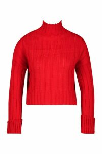 Womens Petite Roll Neck Chunky Extreme Turn Up Cuff Jumper - red - L, Red