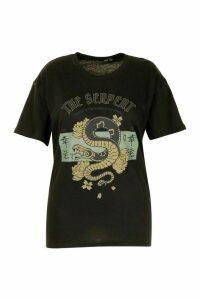 Womens Plus The Serpent Slogan T-Shirt - black - 18, Black