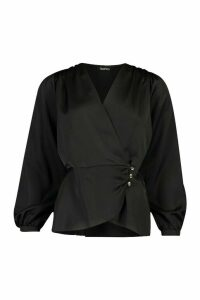 Womens Satin Button Detail Wrap Blouse - black - 8, Black