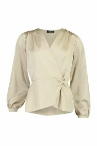 Womens Satin Button Detail Wrap Blouse - beige - 16, Beige