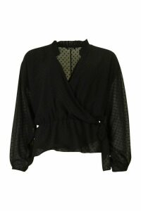 Womens Dobby Spot Wrap Blouse - black - 14, Black