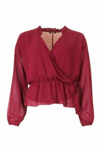 Womens Dobby Spot Wrap Blouse - red - 14, Red
