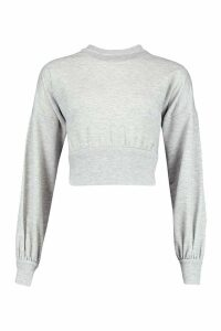 Womens Balloon Sleeve Sweat Top - grey - 14, Grey