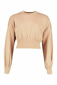 Womens Balloon Sleeve Sweat Top - beige - 6, Beige