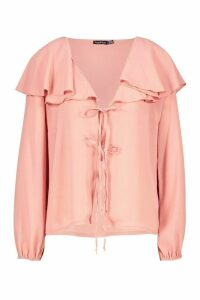Womens Woven Cape Detail Tie Front Blouse - pink - 12, Pink